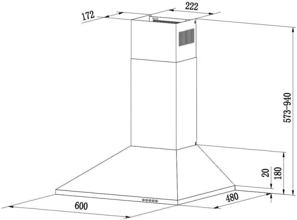 dimensiones campana extractora ciarra cbcs6201